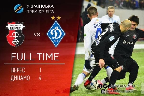 Рівненський «Верес» поступився столичному «Динамо»