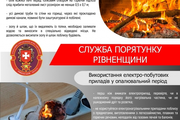Рятувальники Рівненщини нагадують про правила пожежної безпеки в побуті!