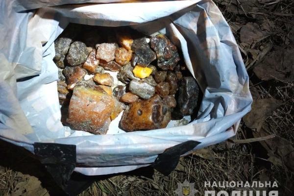 Рівненщина: поліцейські вилучили два кілограми бурштину та мотопомпу