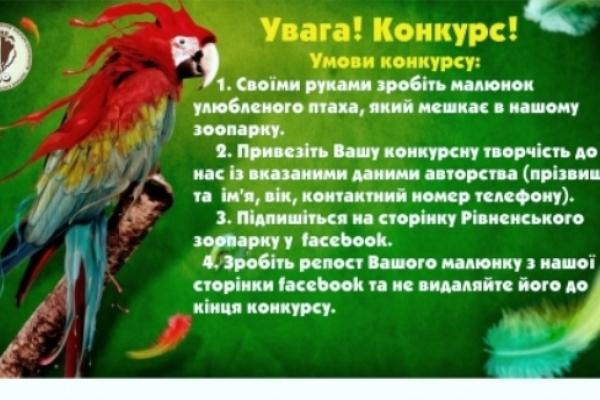 Рівненський зоопарк оголошує конкурс до Дня птахів