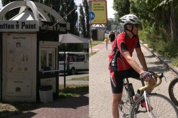 У Рівному конфлікт між власниками кавового кіоска та велосипедистами (Відео)