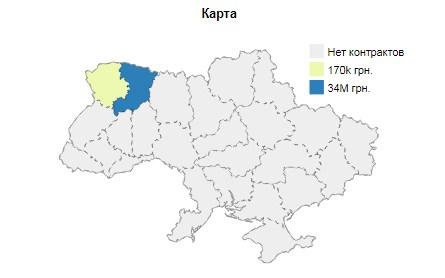 ТОВ «БК Домінант» працює майже виключно на території Рівненської області. Скріншот із аналітичної системиClarity-project.
