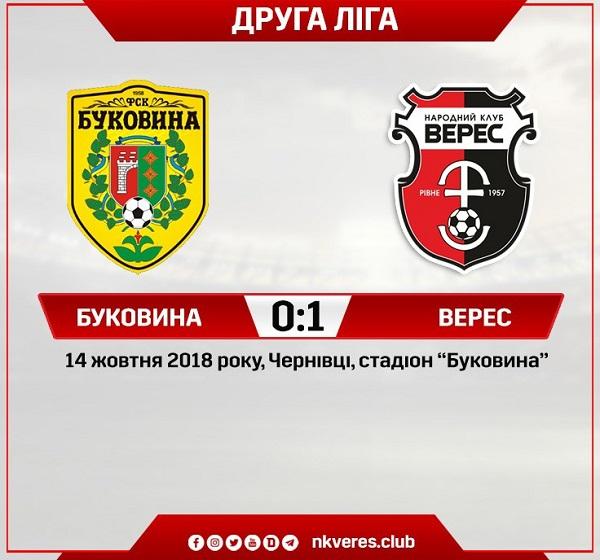 «Верес» обіграв «Буковину» на виїзді